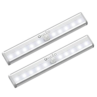 OxyLED Motion Sensor Closet Lights, Battery Operated 10 LED Closet Light Wireless Under Cabinet Light with Magnetic Security Closet Light Stick Up Motion Sensor Night Lights for Cabinet Stairs, 2 Pack