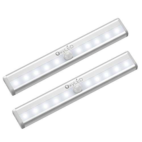 OxyLED Motion Sensor Closet Lights, Battery Operated 10 LED Closet Light Wireless Under Cabinet Light with Magnetic Security Closet Light Stick Up Motion Sensor Night Lights for Cabinet Stairs, 2 Pack ()