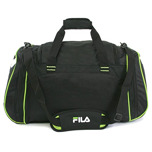 "41htirITYuL - Fila Acer 25"" Sport Duffel Bag, Black/Neon Green"