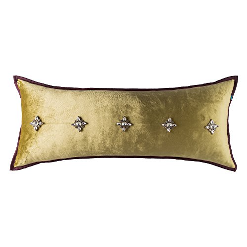 Victorian French Beaded Decorative Rectangle Throw Pillow Cover for Sofa, Couch & Bed, 12x30, Golden (Bright Victorian Copper Accessories)
