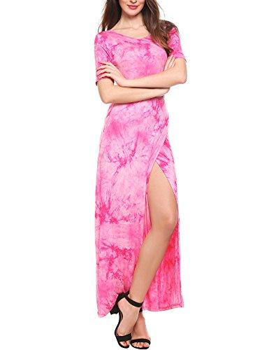 Meaneor Women's Tie Dye Colorful High Split Long Formal Evening Prom Dresses...