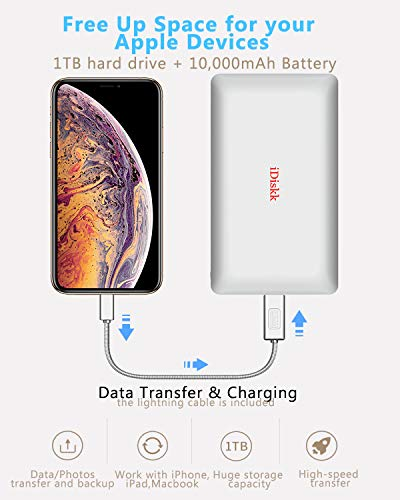 1000GB (1TB) Hard Drive External Storage for iPhone 5/6/7/8,X,XR,XS MAX,new iPad Pro and MacBook and PC,USB+USB C Data Photos Backup Flash Drive (APP management for iOs 7/8/11/12),iDiskk MFi Certified by iDiskk (Image #3)
