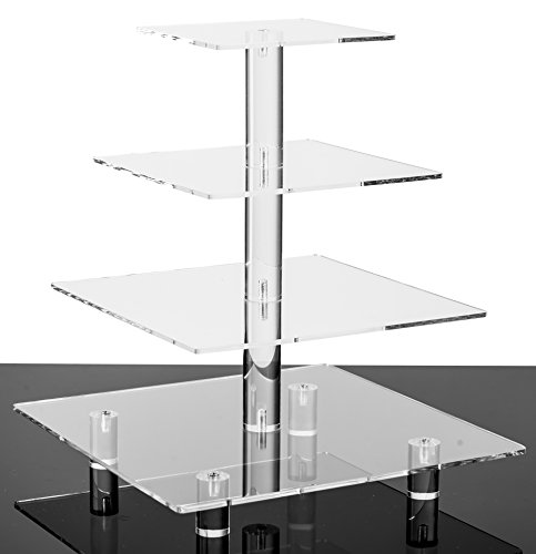 Jusalpha 4 Tier Square Acrylic Cupcake Tower Stand-Cake Stand-Dessert Stand-Cupcake holder-Pastry serving platter-Cupcake Tower for Wedding-Party Supply(4 Tier With Rod Feet) by Jusalpha (Image #4)