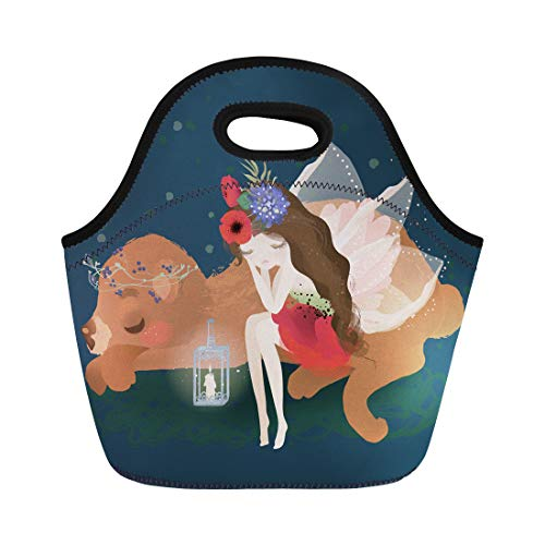 Semtomn Neoprene Lunch Tote Bag Cute Fairy Beautiful Wings Flowers Floral Bouquet and Whimsical Reusable Cooler Bags Insulated Thermal Picnic Handbag for Travel,School,Outdoors, Work