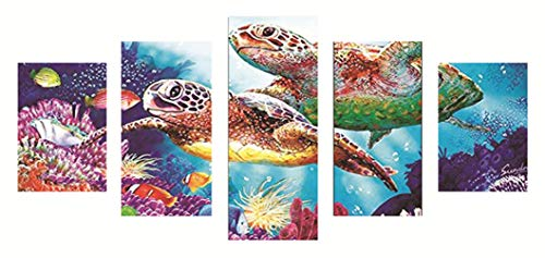 Wizland DIY 5D Diamond Painting by Number Kit, Full Drill Rhinestone Embroidery Cross Stitch Picture,5 Sets of Splicing Painting for Wall Decoration (80x40cm/31.5x15.75inch, Sea Turtle)