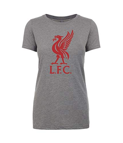 Anfield Shop Liverpool FC Womens Grey Liverbird T Shirt (XL)