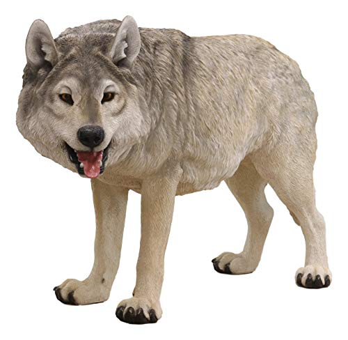 Ebros Realistic Large Wildlife Alpha Gray Wolf Statue 48