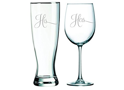 His Pilsner Beer Glass, 23oz. and Hers Wine Glass, 19oz. (set of 2) - Great Couples - Glasses Her