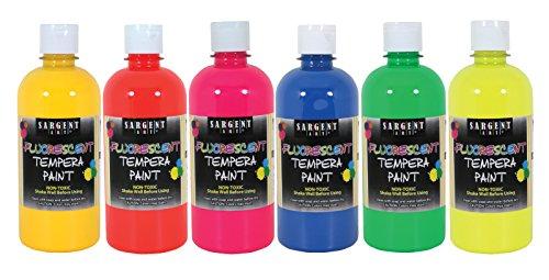 Sargent Art 17-5700 16 Oz Fluorescent Tempera Paint Set, 6 (Fluorescent Tempera 16 Oz Paint)