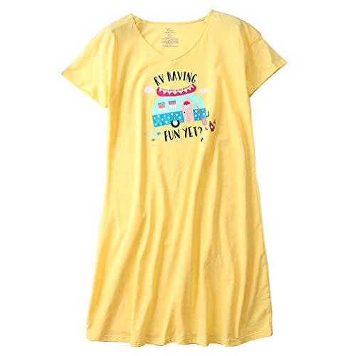 ENJOYNIGHT Womens Cotton Sleepwear Short Sleeves Print Sleepshirt Sleep Tee (Yellow, - Sleepshirt Short Sleeve