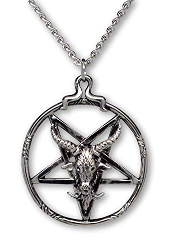 Baphomet Inverted Pentacle Silver Finish Pewter Goat Head Pendant Necklace
