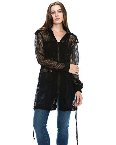 JEZEEL Women's Zipper Hooded Mesh Bomber Trench Jacket. DJ308(M,Black)