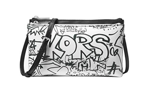 Michael Kors Adele Graffiti Smooth Leather Double Zip Crossbody Purse