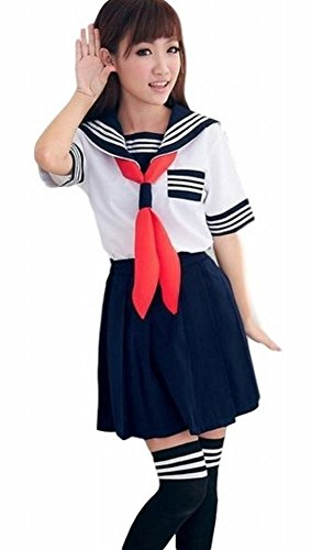 POJ Japanese High School Girls Uniform [ M / L / XL For Women ] Short Sleeve (L) (Cosplay Store Near Me)