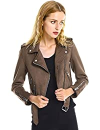 Women Slim Fit Faux Leather Suede Moto Biker Jacket Zipper Coat Casual Outerwear