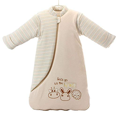 OuYun Baby Organic Sleeping Bag Detachable Sleeve Wearable Blanket, Moderate Thick, (32-68℉)