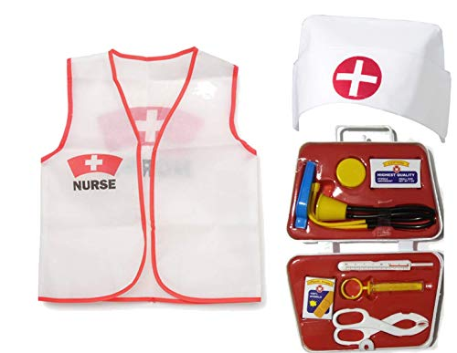 11 Piece Children's Nurse Dress Up Costume Set]()