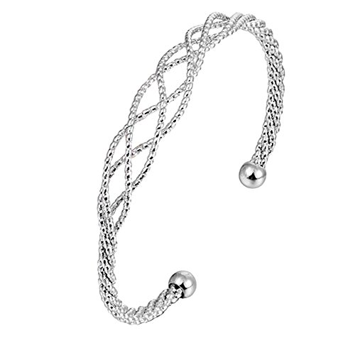 Womens Jewelry Twisted Rope Charm Chain Bangle Bracelet(Silver) - 3