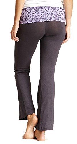 New Balance Mum Print Athletic Fold Over Yoga Lounge Pants - Grey/Purple - Large Mum Grey/Purple