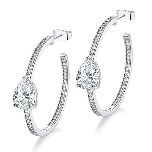 VOLUKA 18K White Gold Plated Cubic Zirconia Large Hoop Earrings Simulated Diamond Hypoallergenic for Women ()