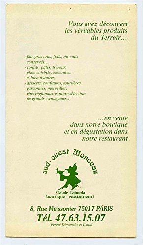 (Sud Ouest Monceau Claude Laborda Boutique Restaurant Menu Paris France Armagnacs)