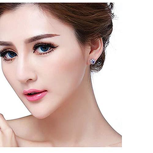 Vnlig Silver Earrings Plum-Shaped Micro-Inlaid Sleek Minimalist Earrings Ladies Silver Stud Earrings for Party Wedding Ladies Earrings,