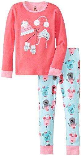 Petit Lem Little Girls'  Chic Hat 2 Piece Pant Sleep Set, Pink Dogs, 6
