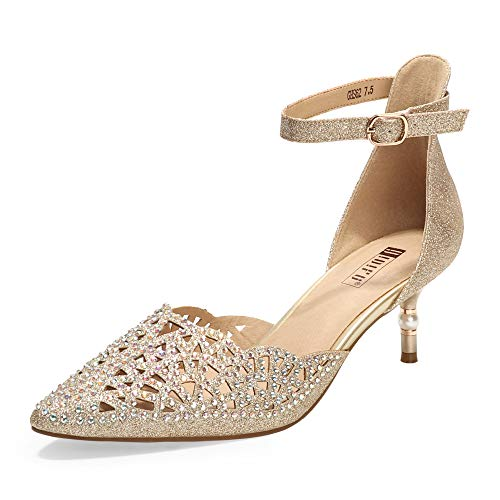 IDIFU Women's IN2 Candice Wedding Rhinestones Sequins Low Kitten Heels Pumps Dress Evening Shoes for Women Bridal Bride (9, Gold Glitter)