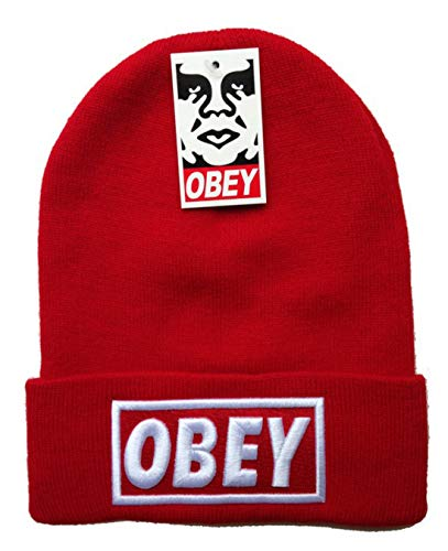 OBEY - Unisex Adult Winter Knit Beanie Hat One Size Fits Most Red