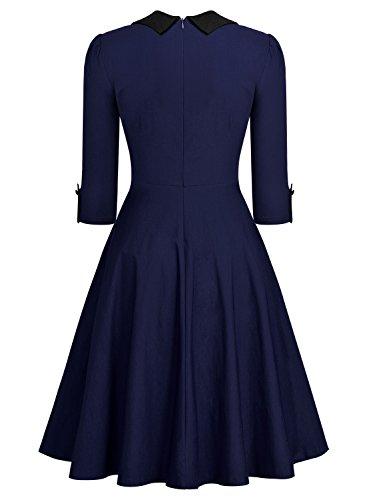V Miusol Corta Coctel Donna 1950s Vintage Scollo Blu Vestito A xCq4PC