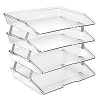 Acrimet Facility 4 Tier Letter Tray Side Load Plastic Desktop File Organizer (Clear Crystal Color)