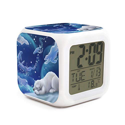 Hotqq Polar Bear dream-01 Cute 7 LED Color Change Digital Thermometer Alarm Clock with LCD Display Cube Night Light for Kids