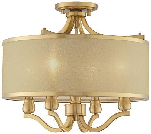 Quoizel TFIK1714VA Inglenook Tiffany Semi-Flush Ceiling Lighting, 2-Light, 120 Watts, Valiant Bronze 8 H x 14 W
