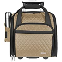 Travelon Wheeled Underseat Carry-On with Back-Up Bag, Khaki (Beige) - 6454-Khaki-One Size