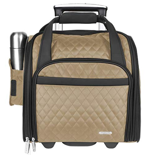 Travelon Wheeled Underseat Carry-On with Back-Up Bag, Khaki, One Size