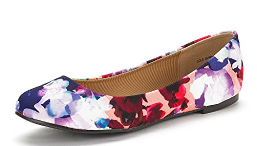 DREAM PAIRS Women's Sole Simple Floral Ballerina Walking Flats Shoes - 5.5 M US