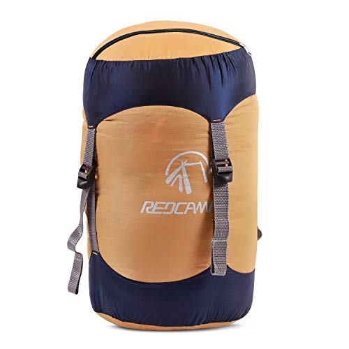 REDCAMP Nylon Compression Stuff Sack, Lightweight Sleeping Bag Compression Sack Great for Backpacking, Hiking and Camping, Orange L