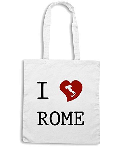 T-Shirtshock - Bolsa para la compra TLOVE0065 i love rome Blanco