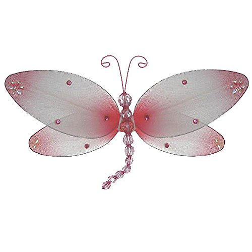 The Butterfly Grove Taylor Dragonfly Decoration 3D Hanging Mesh Organza Nylon Decor, Pink Carnation, Medium, 10