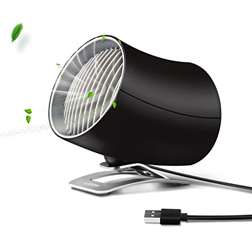 Mini USB Table Fan, Portable Personal Desk Fan with Two Speeds Adjustable Touch Control, PC/Laptop Cooling Fan for Home, Office, Travel - Dual Motor Driver, Double Blades, Color Black by LATOW