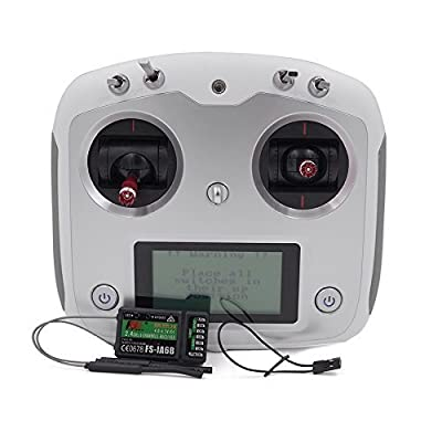 Flysky FS-i6S 2.4G 10CH AFHDS Touch Screen Radio System Transmitter + FS-iA6B Receiver Self Centering Throttle Mode DIY RC Drone Multicopter FPV (Left Throttle): Toys & Games