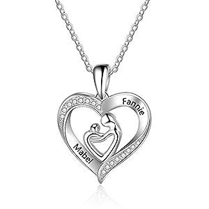 XiXi Collier Pendentif Deux Prenoms Personnalisé avec Coeur Argent 925 Pendentif femme Cadeau pour Anniversaire Fête des…