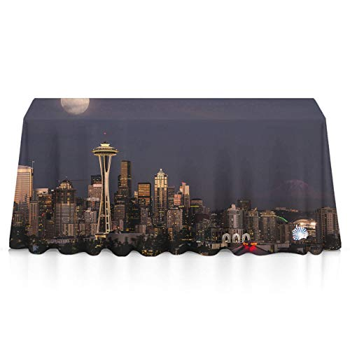NiYoung Soft Rectangular Table Covers for Family Dinners, Buffet Table, Gatherings - City Seattle Waterproof Wrinkle Free Table Toppers Polyester Table Art (Best Crawfish In Seattle)