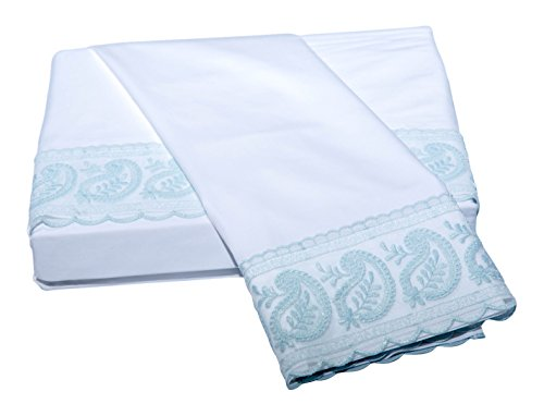 Belle Epoque Traditional SAN REMO LACE Sheet Set King White/Fr.Blue