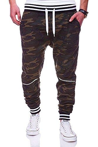 Sciolto Pantaloni Moda Libero Uomo Stampa Grigio Cotone Zbsport Mimetica Tempo Di w0BqzOxOU