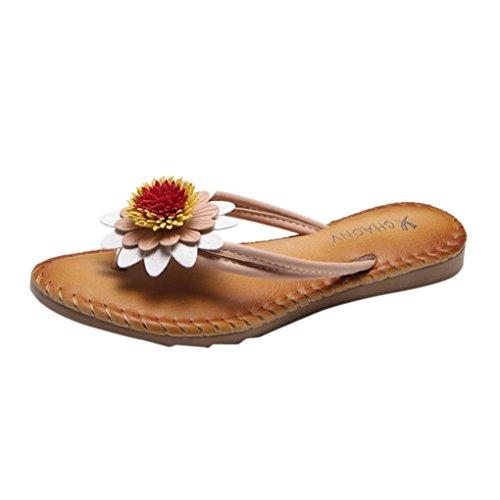 UFACE Damen-Art- und Weiseeinfarbige Blumen-Flache Ferse-Sandelholz-Pantoffel-Strand-Schuhe