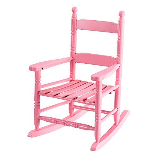 Costzon Kids Rocking Chair, Wooden Classic Porch Rocker, Double Slat Back Rocking Chair (Pink) ()