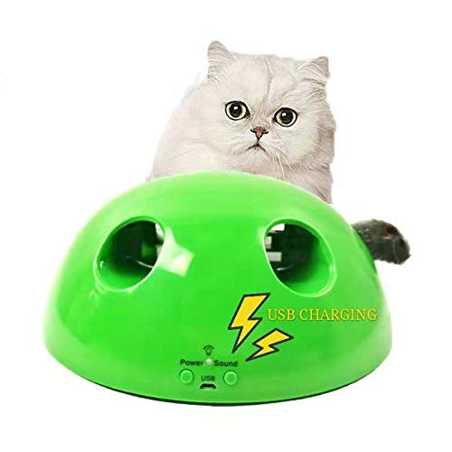 3XI 【New Version Pop Cat Play Rechargeable Toy】 Best Gift for Cat,Mouse Tease Electronic Pet Toys, Cat Kitten Automatic Spinning Chase Toy,Automatic Interactive Motion Cat Toy