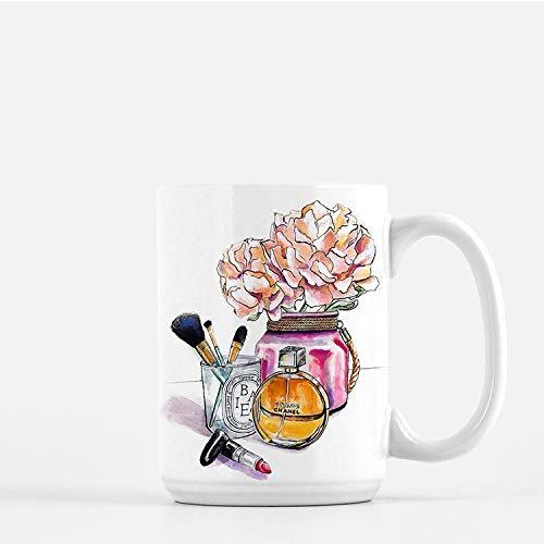 Chanel and Peonies Mug, Chanel Mug, Peonies Mug, Fashion Illustration, Large mug, gift for her- Coffee Mug, Tea Mug, Cute Mug - Gift, cute gift, Souvenir, 11oz, 15oz