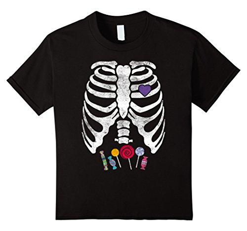 Kids Skeleton Candy Rib Cage X-Ray Halloween T-Shirt Kids - Adult 4 Black (Xray Skeleton Kids Costume)